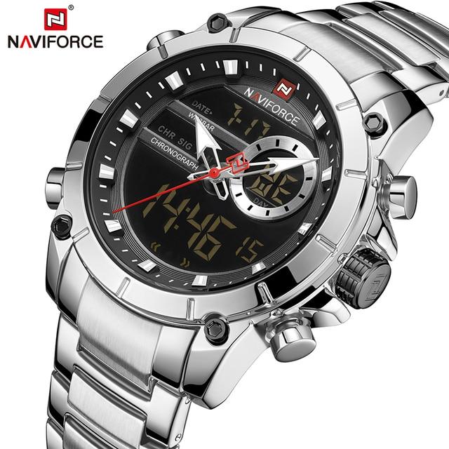 En lüks marka NAVIFORCE 2019 yeni erkekler spor kuvars kol saati adam için su geçirmez çift ekran tarih saat Relogio Masculino