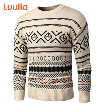 Men 2020 Autumn New Vintage Style Acrylic Warm Jacquard Sweater Pullovers Men Winter O-Neck Fashion Thick Check Pattern Sweater 1