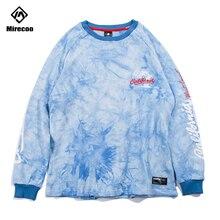 Mirecoo Sweatshirt Men Hang Dye Letter Printed Pullover O-Neck Harajuku High Street Sweatshirts Hip Hop Fashion Streetwear