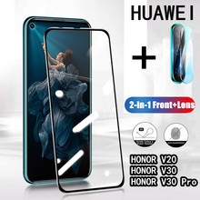 2 In 1 Volledige Cover 9D Gehard Glas Voor Huawei Honor V30 V30 Pro V20 Screen Protector(China)