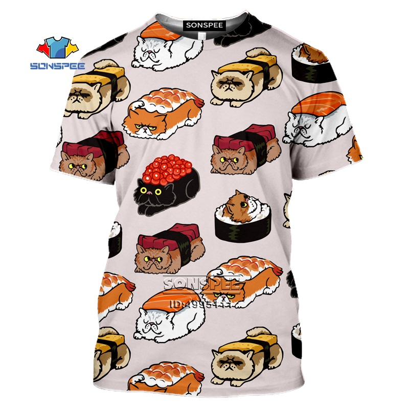 Kawaii Japan Cook Sushi Cat Sushi T Shirt Men 3D Print Man's T-Shirt Women Summer Tshirt Harajuku Casual Hip Hop Oversized Shirt