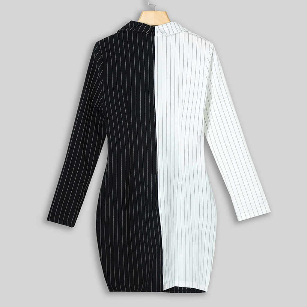 女性ブレザードレスパッチワーク黒成都ストライプドレス V ネック長袖ワークオフィスレディ # YJG