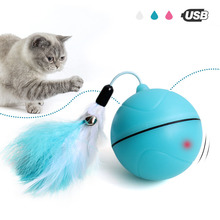Creative Cat Toys Interactive Automatic Rolling Ball for Cats Dogs Pet with Detachable Feather Teething Fun Play Toy