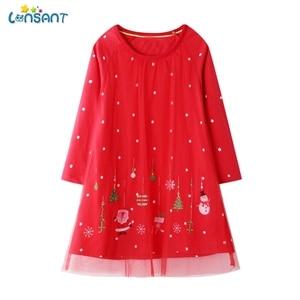 LONSANT Long Sleeve Girls Dress Clothing Party Baby Dresses Cotton Princess Cute Birthday Gift Christmas Kid Dress N30