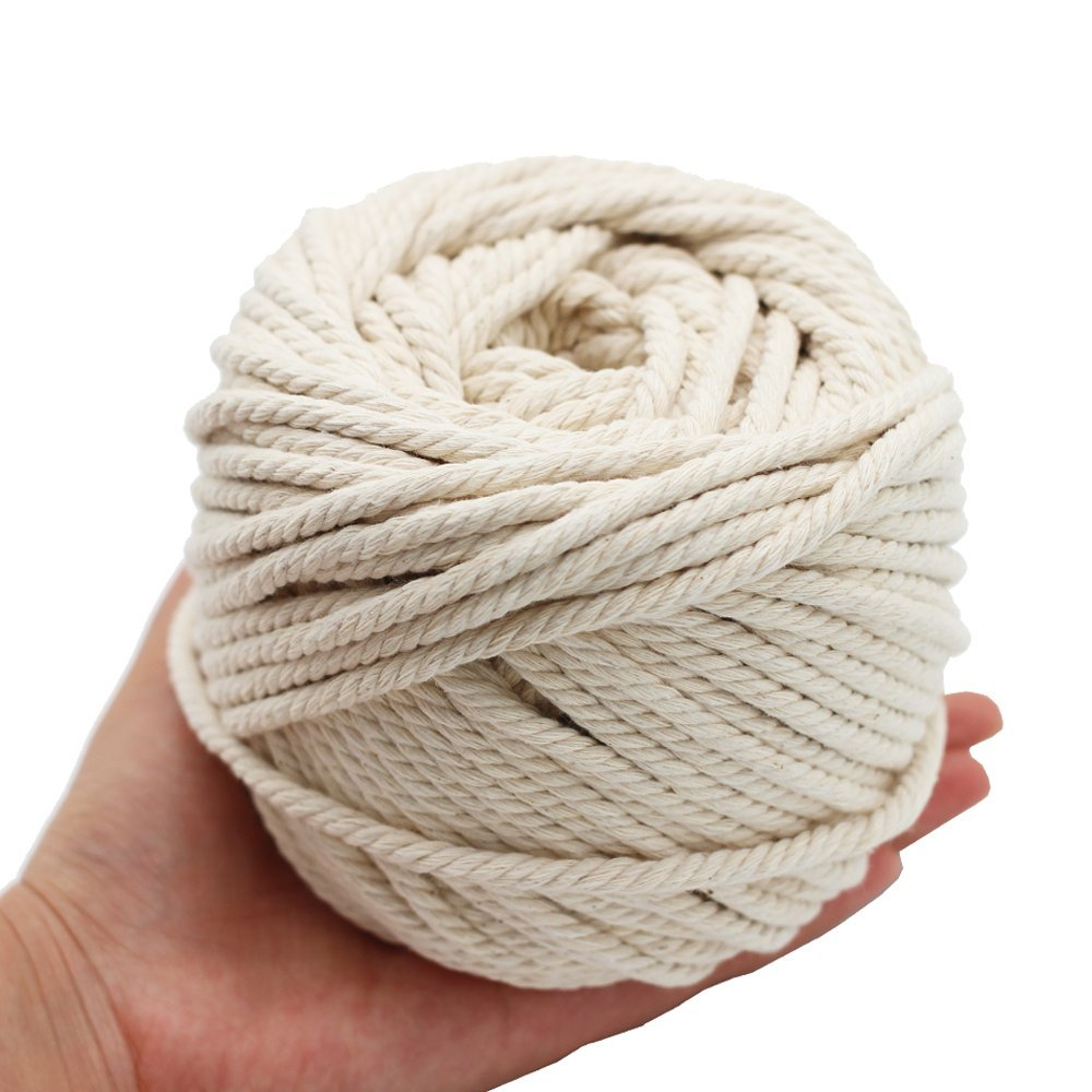 6/5/4mm Macrame Rope Twisted String Cotton Cord For Handmade Natural Beige Rope DIY Accessories 50/65/100M