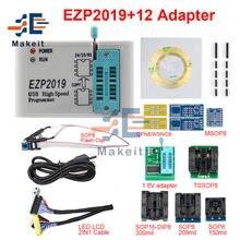 Ezp2019 alta velocidade usb spi programador ezp 2019 suporte 24 25 26 93 eeprom 25 flash bios chip com 2/5/8/12 adaptador expandir placa