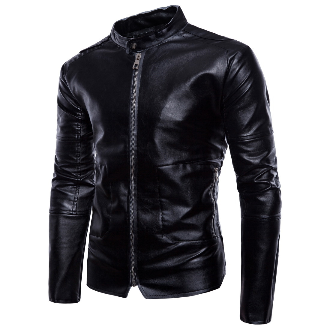 New Style MEN'S Leather Coat  Spring New Style Europe And America Large Size Coat Black And White With Pattern Leather Jacke