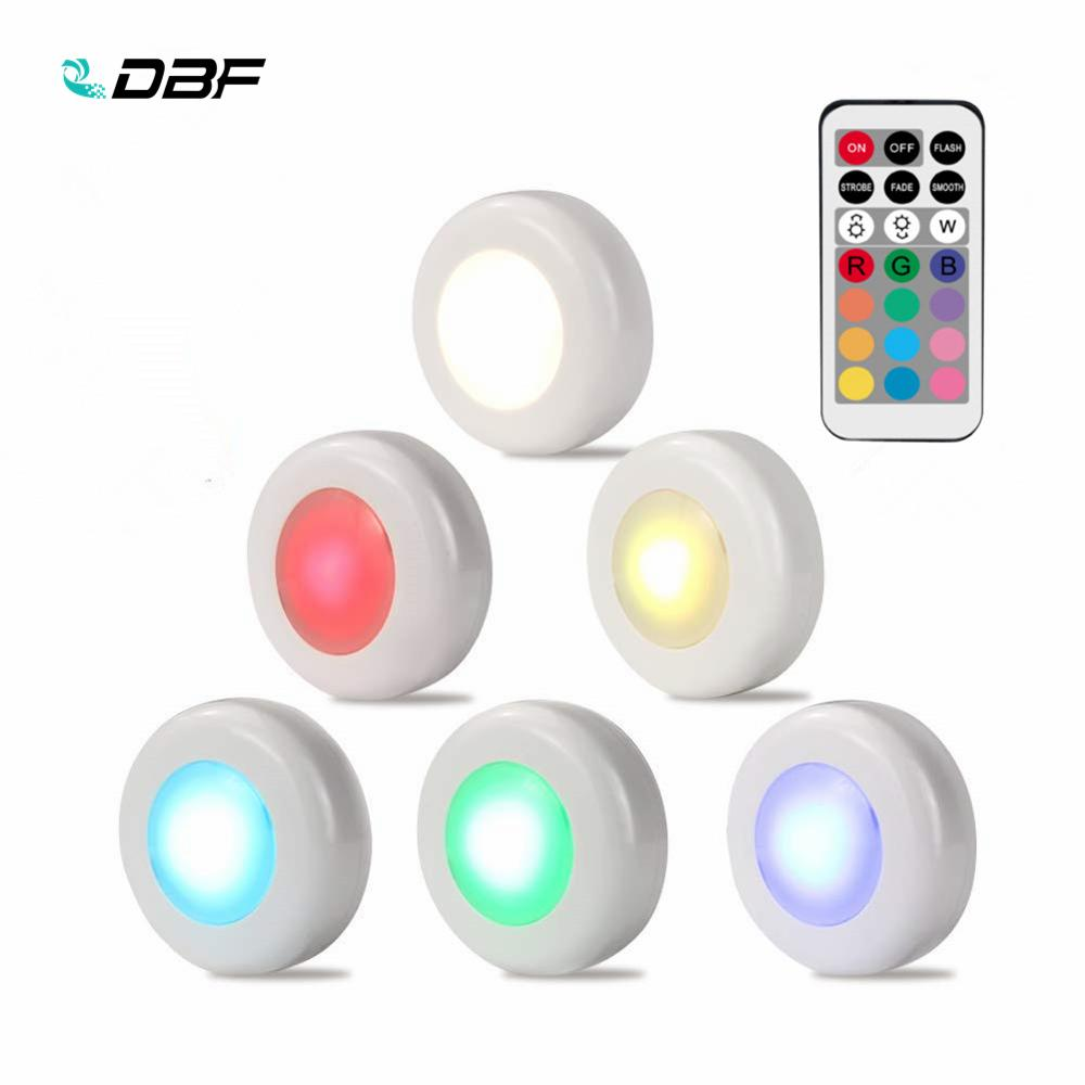 [DBF]Battery Operated Wireless LED Closet Lights,RGB Color Changing Puck Light With Remote Control Touch Sensor LED Night Light