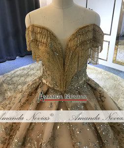 Image 5 - Off the shoulder golden ball gown wedding dress