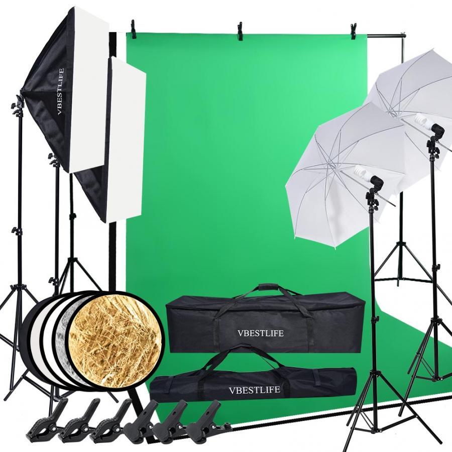 Professional Photography Kit Lighting Equipment Soft Light Umbrella Softbox Bulb Holder Light Bulbs Backdrops Photo Studio Kits
