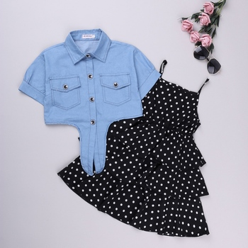 Летняя одежда для маленьких девочек; комплект из 2 предметов; платье без рукавов в черный горошек + джинсовое пальто; Модный комплект одежды ...