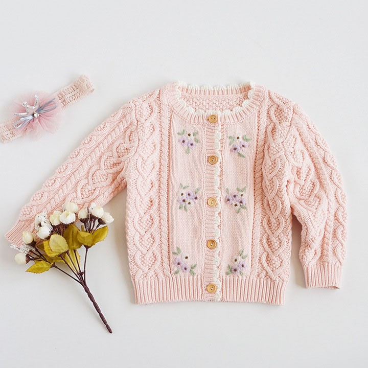Sweet Kids Girls Floral Embroidered Crochet Sweater Cardigans Jackets Candy Pink Beige Blue Color Spring Autumn Outwears 1