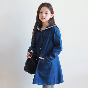 Image 2 - Loose Baby Princess Dress Autumn 2019 Cotton Kids Dresses for Girls Children Jeans Dress Teenager Toddler Clothes Soft,#8001