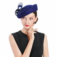 Wedding Woman Hat Blue Fascinator Wool Vintage Church Pillbox Hat For Women Bow Fedora Cap Sinamay Derby Royal Banquet Headdress