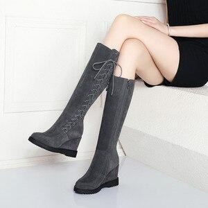Image 5 - MORAZORA 2020 hot donne stivali alti al ginocchio inverno stivali in pelle scamosciata croce legato zip incunea i pattini della piattaforma femminile di grande formato 40