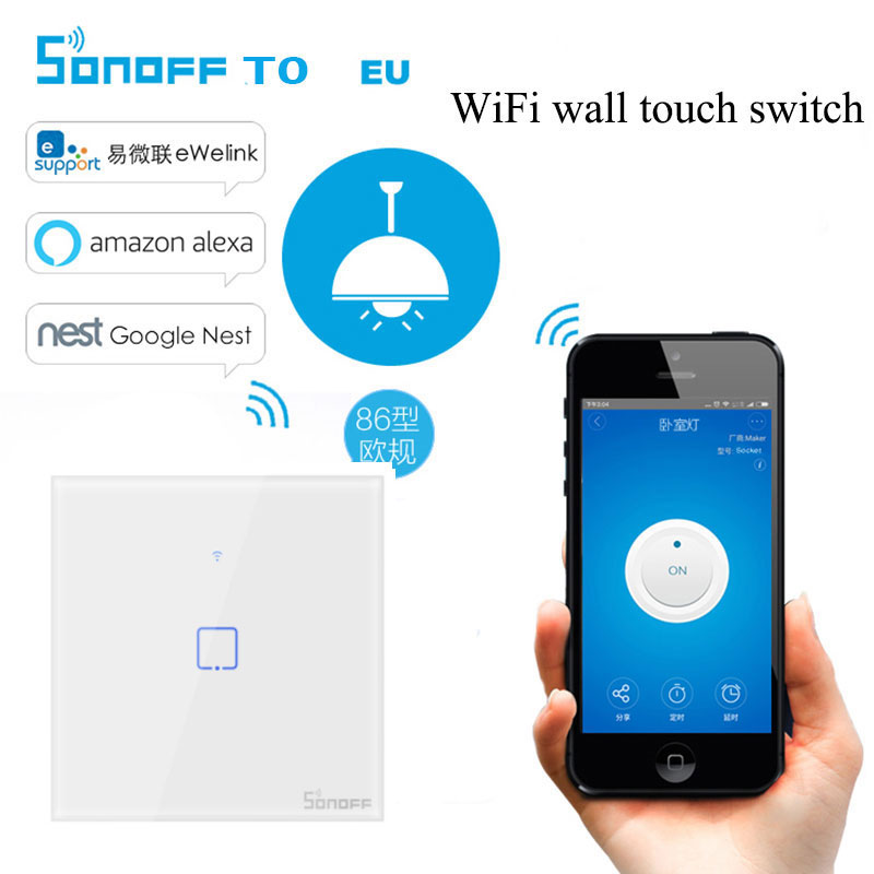 Itead Sonoff T0 1/2/3 Gang Wireless Remote Control Wifi Touch Wall Light Switch Smart Home UK Panel Works Google Home Alexa