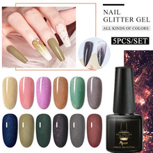 Mtssii Glitter Gel Cat Kuku Hologram Payet Nail Art Lacquer Rendam Off UV LED Manikur Pernis Shimmer Nagellack Set(China)