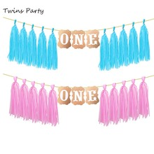 Twins Party 1st Birthday Banner Baby Boy Girl First ONE Year Old Decoration