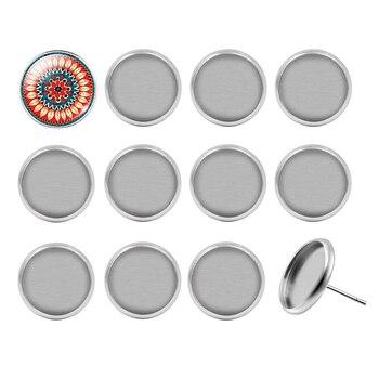 50 unids/lote Acero inoxidable blanco pendiente Base ajuste 10mm 12mm 14mm 16mm cabujón Stud pendientes joyería hallazgos para hacer bricolaje