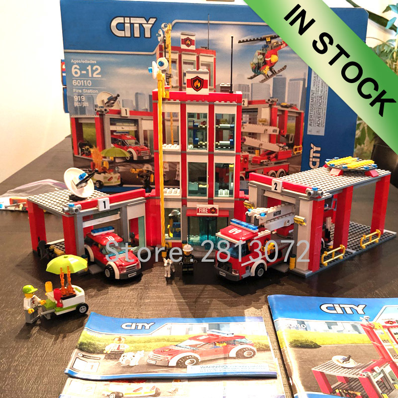 02052 In Stock City Series Fire Station 919PCS Model Building Blocks Toys Compatible With 60110 10831