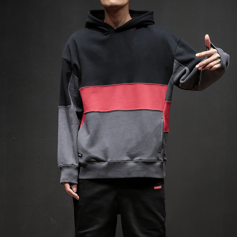 Dropshipping 2019 Autumn Men Streetwear Hoodies Casual Patchwork Male Pullover Mens Sport Cotton Pocket Hooded Sweatshirt