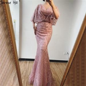 Image 3 - Dubai rosa com decote em v pérolas rendas vestidos de baile 2020 meia mangas sereia sexy elegante formal vestidos de baile bla70156