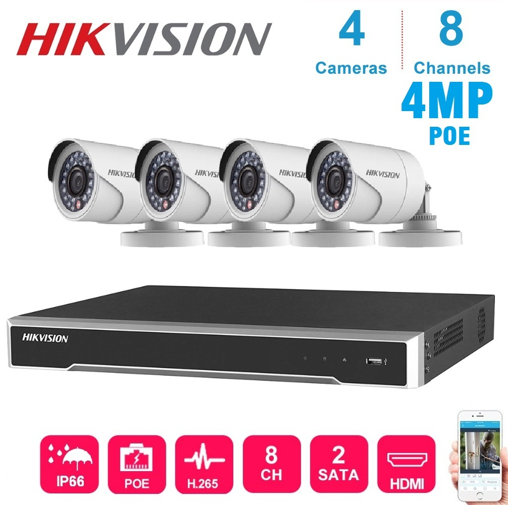 4K Network 8-CH Hikvision POE  NVR Video Recorder With 4 Pcs 4MP Waterproof Ip Camera Night Vision CCTV Security System  Kit