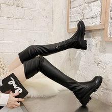 Bottes noires plates au dessus du genou pour femmes, chaussures d'hiver à plateforme, cuissardes hautes, en cuir souple, longues, 2020