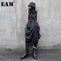 [EAM] Women Black Pleated Mesh Split Shirt Dress New Stand Collar Sleeveless Loose Fit Fashion Tide Spring Summer 2020 1U731
