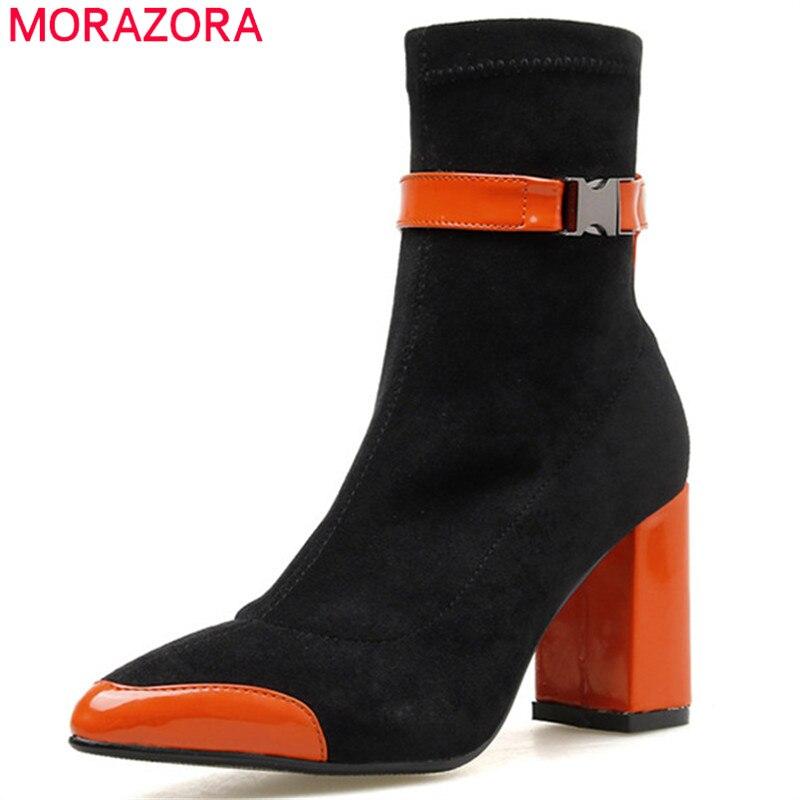 MORAZORA 2020 botas elásticas de moda Zapatos de tacón alto de mujer de charol Metal decoración fiesta boda zapatos mujer Botines