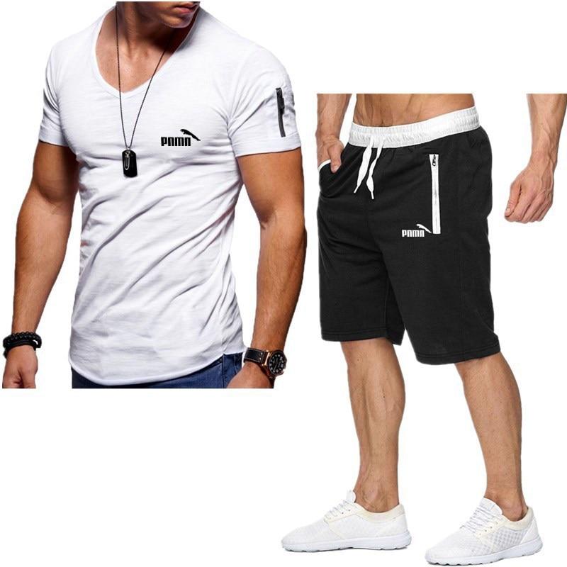 Мужской спортивный костюм для отдыха, спортивная одежда с коротким рукавом, комплект из 2 предметов, лето 2021
