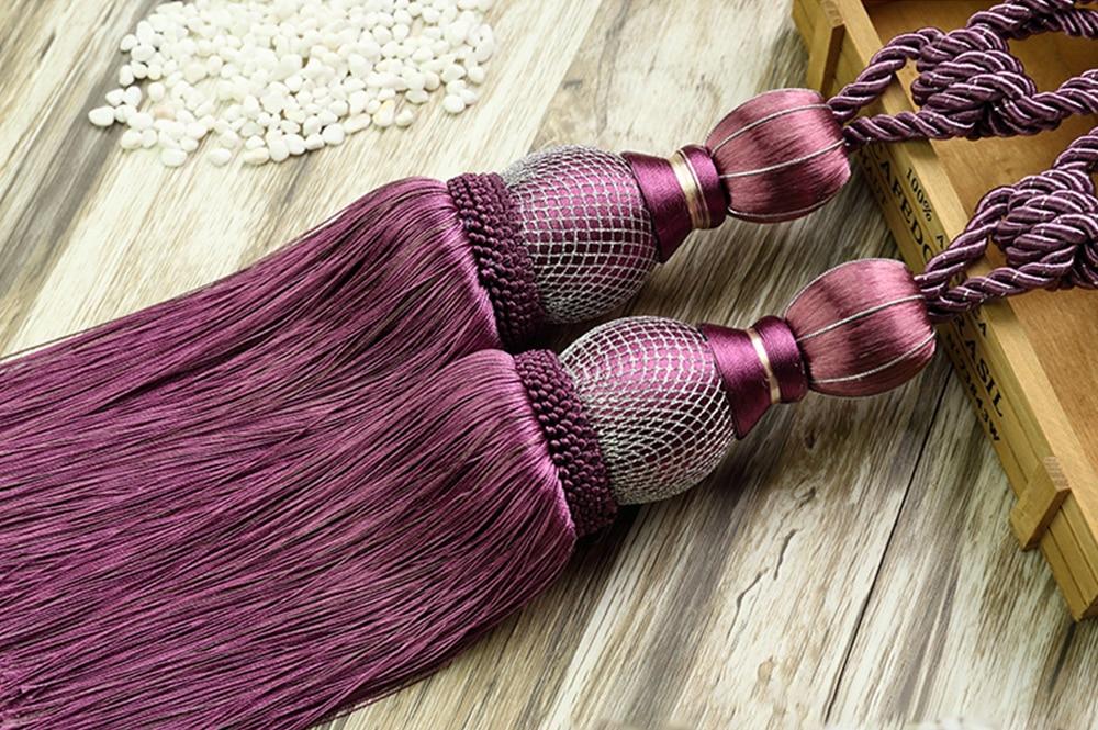 Lavender Curtain Tiebacks Tassel Holdbacks Barley Ball Tie Backs Binding Rope