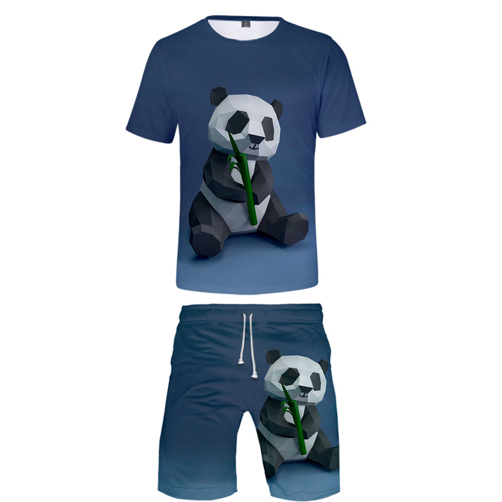 2020 Funny Panda 3D Women/Men Two Piece Set Fashion Summer T Shirt+Shorts Suitable Cool Tee Casual Streetwear Clothes