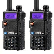 Walkie talkie banda dupla baofeng, rádio amador portátil de duas vias, 2 peças, BF UV5R 5w vhf/UV 5R rádio uhf uv 5r cb