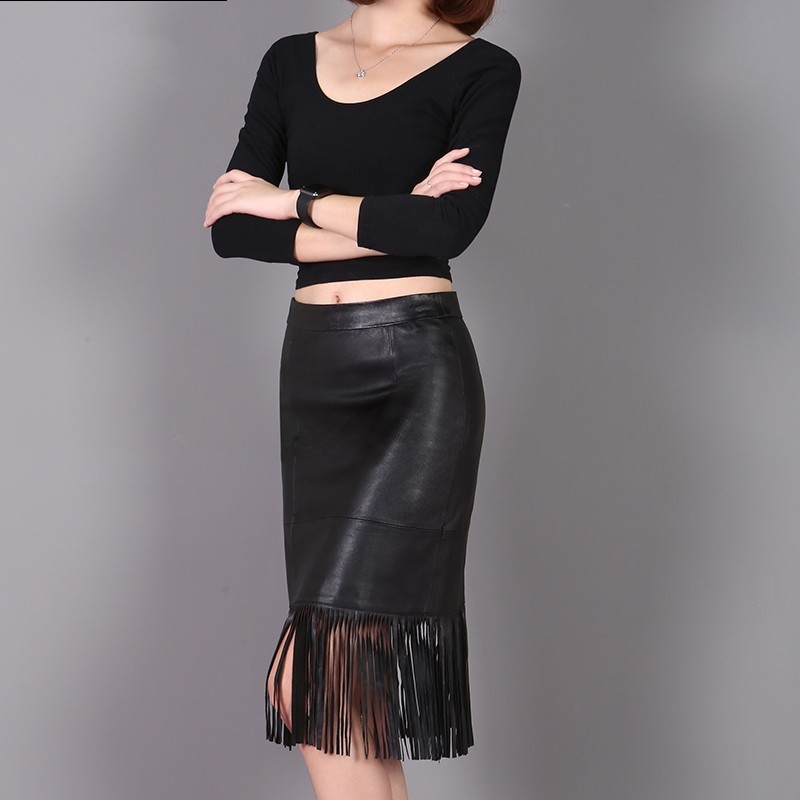 Spring New Fashion Women Tassel Knee Length Skirts Genuine Leather Streetwear Casual Solid Blak Natural Sheepskin High Waist
