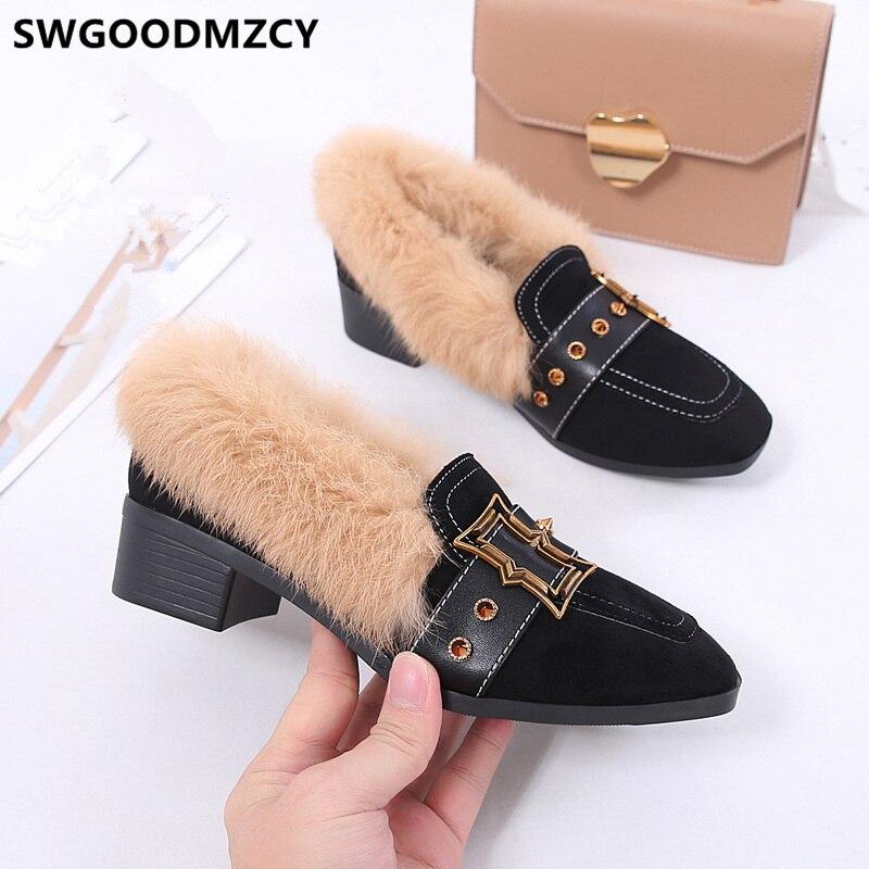 black heel with fur
