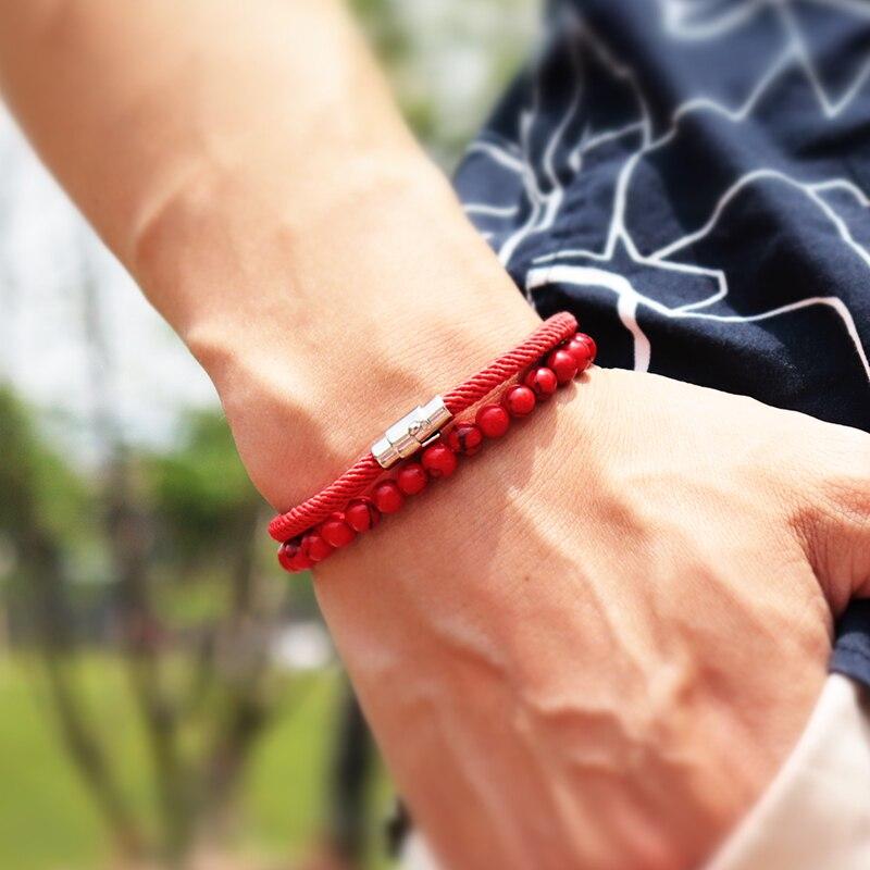 Unique 2pcs/set Bracelet Men Natural Lava Onyx Stone Bracelet Homme Umbrella Rope Magnet Braslet Accessories Matching Braclet