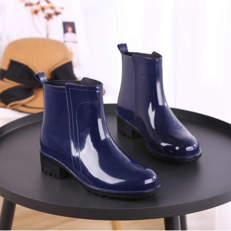 Rain BOOTS รองเท้ากันน้ำผู้หญิงยาง Lace Up Martin BOOTS เย็บแบนรองเท้ารองเท้าผู้หญิง 2020