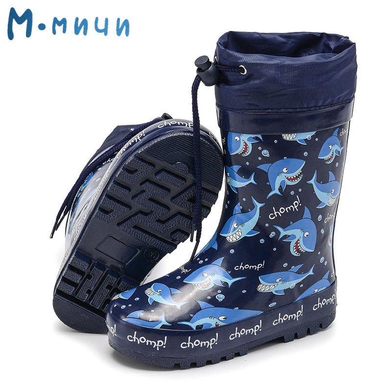 MMNUN Kids Rubber Boots Rain Boots Raining Warm Rain Boots Children's Rubber Shoes Boys Toddler Kids Boots Size 24-29 ML8035
