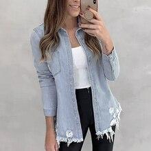 2019 New Trendy Women Button Down Denim Coats Retro Autumn Long Sleeve Turn Down Collar Jean Jacket Slim Feminime Jaqueta Ripped