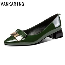 new arrival women pumps genuine leather simple high heel shoes spring summer pointed toe metal buckle casual office ladies pumps