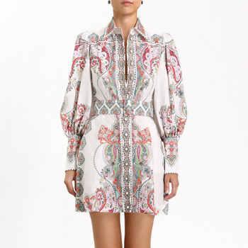 2019 Newest Women Mini Dress High Quality Long Sleeve Vintage Dress Women Vestidos Flower Printed Puff Sleeve Sexy Dress - DISCOUNT ITEM  42% OFF All Category