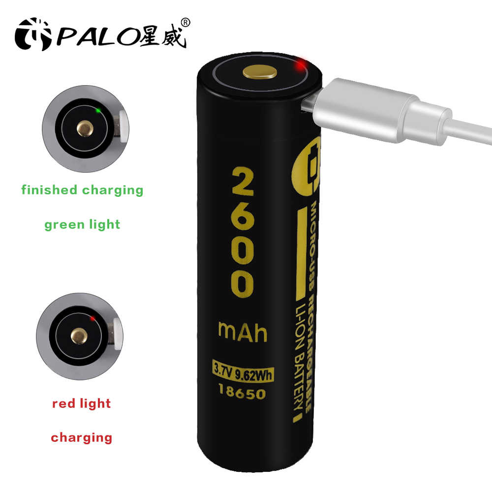Palo USB Interface Charge rapide 18650 batteries faible autodécharge 18650 usb Lithium Li-ion batterie rechargeable LED affichage