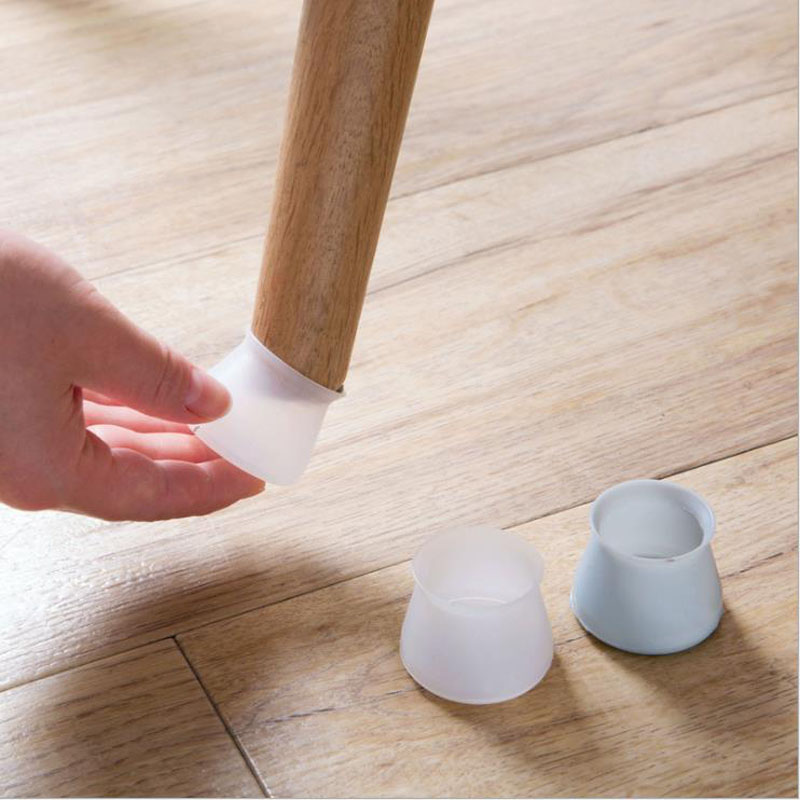 4Pics/set Of Silicone Chair Leg Pad Thick Non-Slip Mute Table Chair Cap Foot Protection Bottom Cover Wood Floor Protection Pad