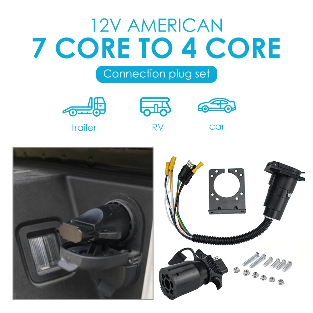 Automobile Exterior Decoration Parts 4 Way Flat to 7 Way RV Blade Style Trailer Truck Wiring Adapter Light Plug Set