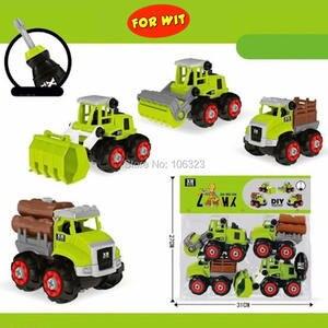 Construction-Truck-Model Farm Tractor Blocks Screwing Educational-Toys DIY Car 4pcs Assembled