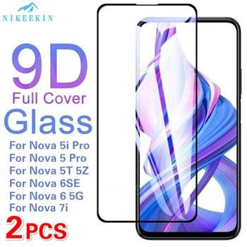 Перейти на Алиэкспресс и купить 2 шт полное покрытие закаленное стекло для Huawei Nova 7i 6 SE 5z Защита экрана для Nova 5T 4e 3e 3i 2i Nova 6 5G 5i Pro стеклянная пленка