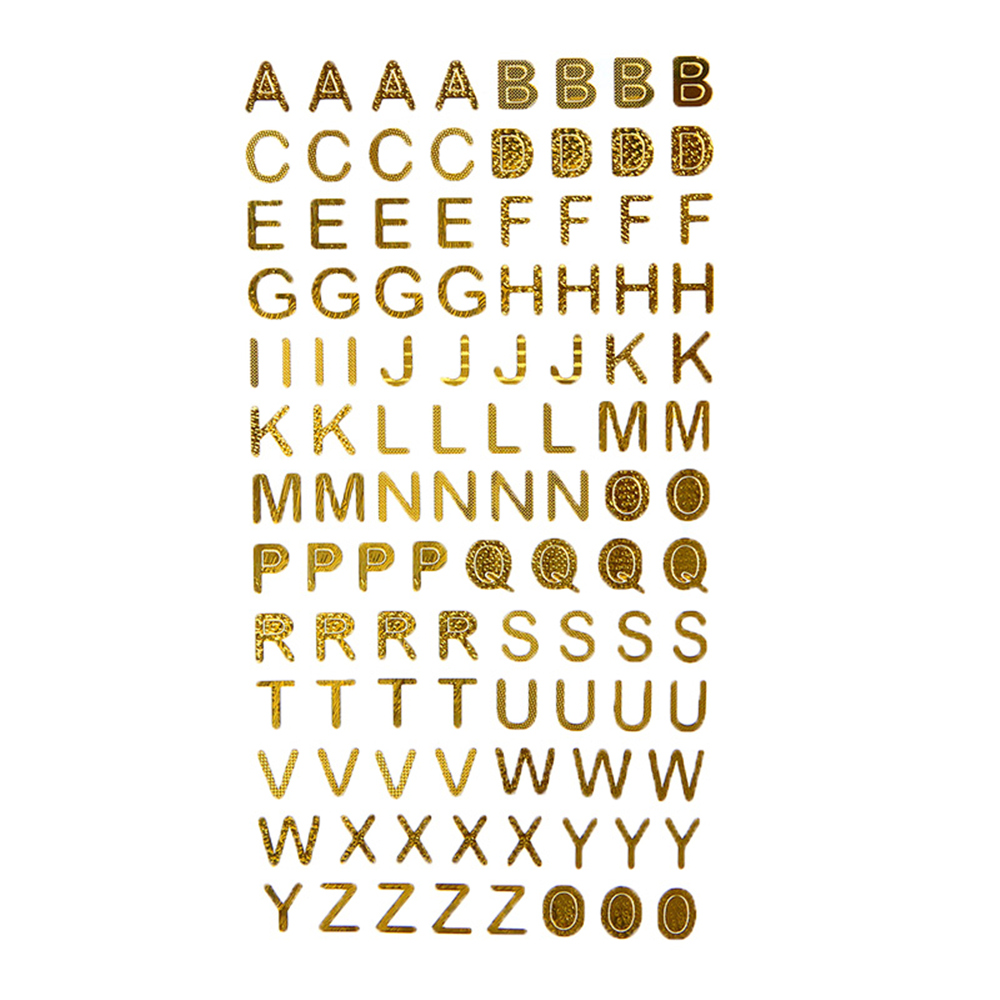 Self Adhesive Metallic Sticker Silver Gold Letters For Card Making DIY Decor Glitter Alphabet Craft