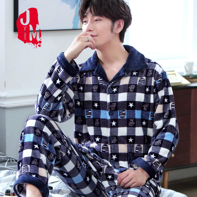 Winter Pajama Man Coral Fleece Warm Thick Men's Sleepwear Flannel Casual Pijama Suit Pyjamas Men Flannel Sleep Homewaer XXL XXXL