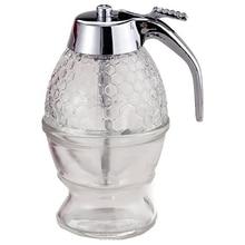 Honey Dispenser, Syrup Dispenser, Beautiful Honeycomb Honey Jar, Honey Jar with Stand (2Pack)